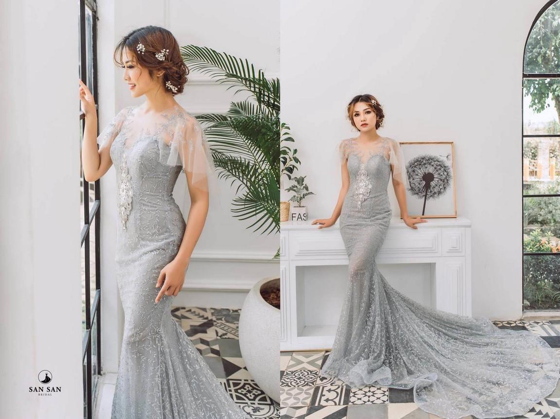 Váy cưới đuôi cá ngắn đẹp màu trắng