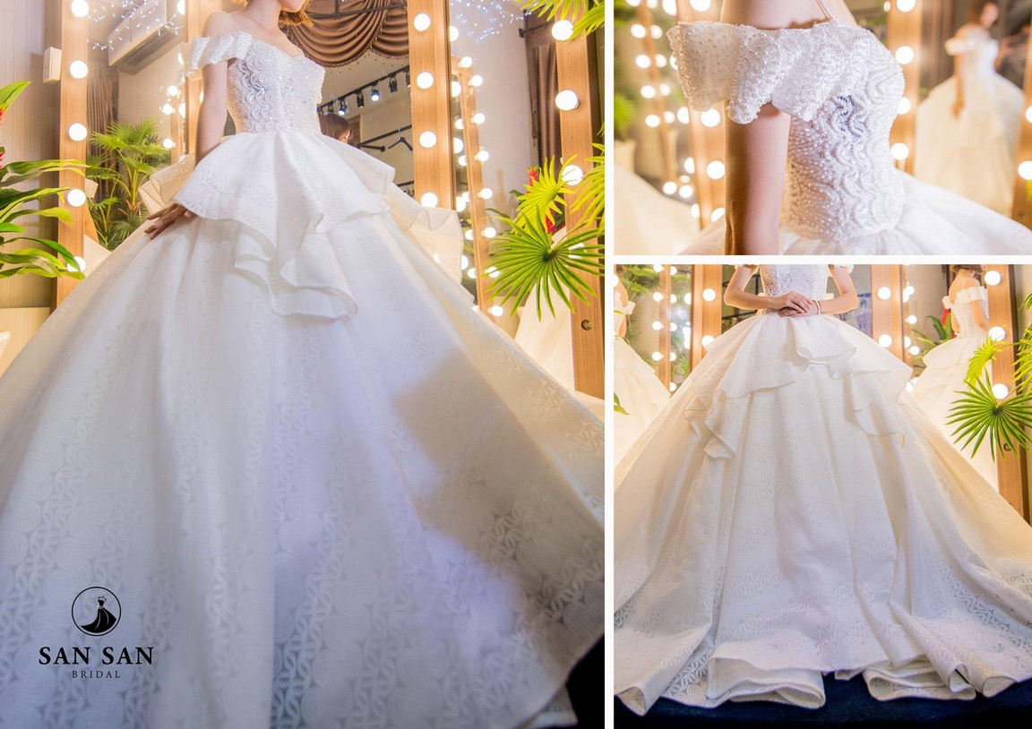 Váy cưới đuôi xòe màu trắng 10