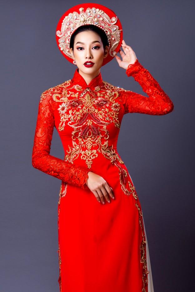 Áo dài cưới 3 tà màu đỏ