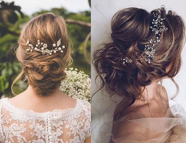 tóc búi thấp cô dâu đẹp