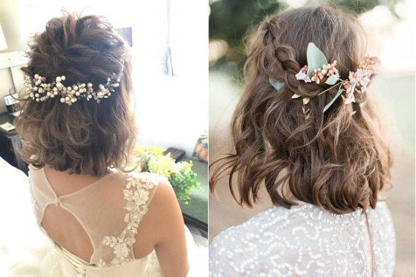 tóc ngắn buộc nữa đầu cho cô dâu