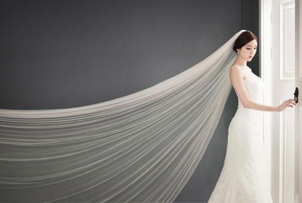 váy cưới khăn voan