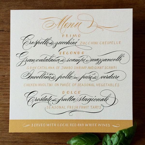 menu cưới bằng kiểu chữ calligraphy