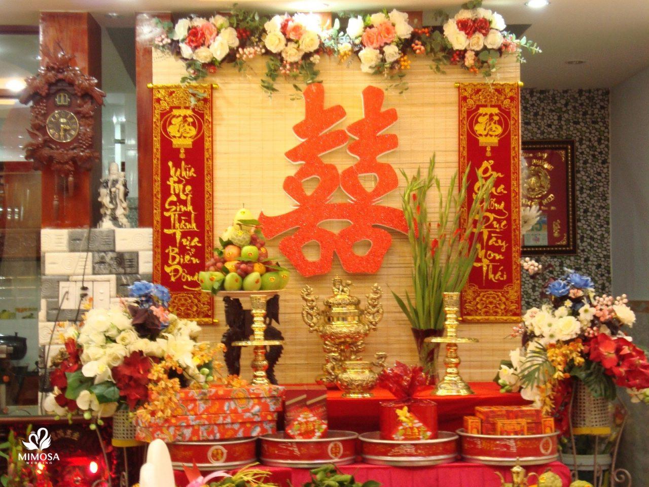 trang trí bàn thờ lễ gia tiên