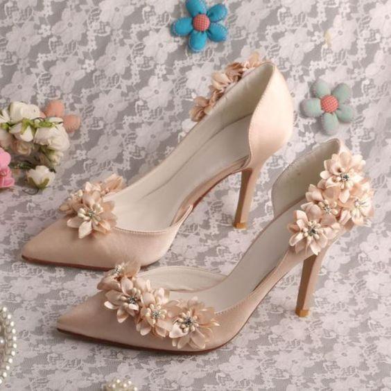 giày cưới cao gót muỗi nhọn
