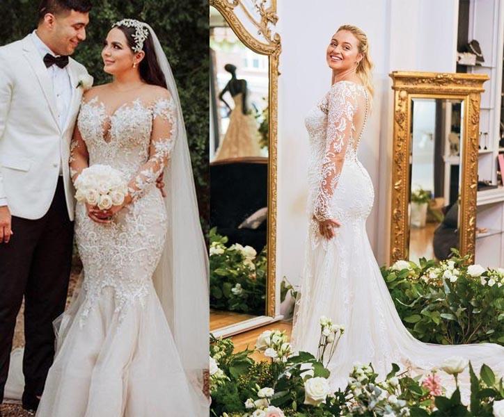 váy cưới chữ A trễ vai
