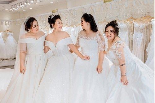 váy cưới trễ vai cô dâu béo