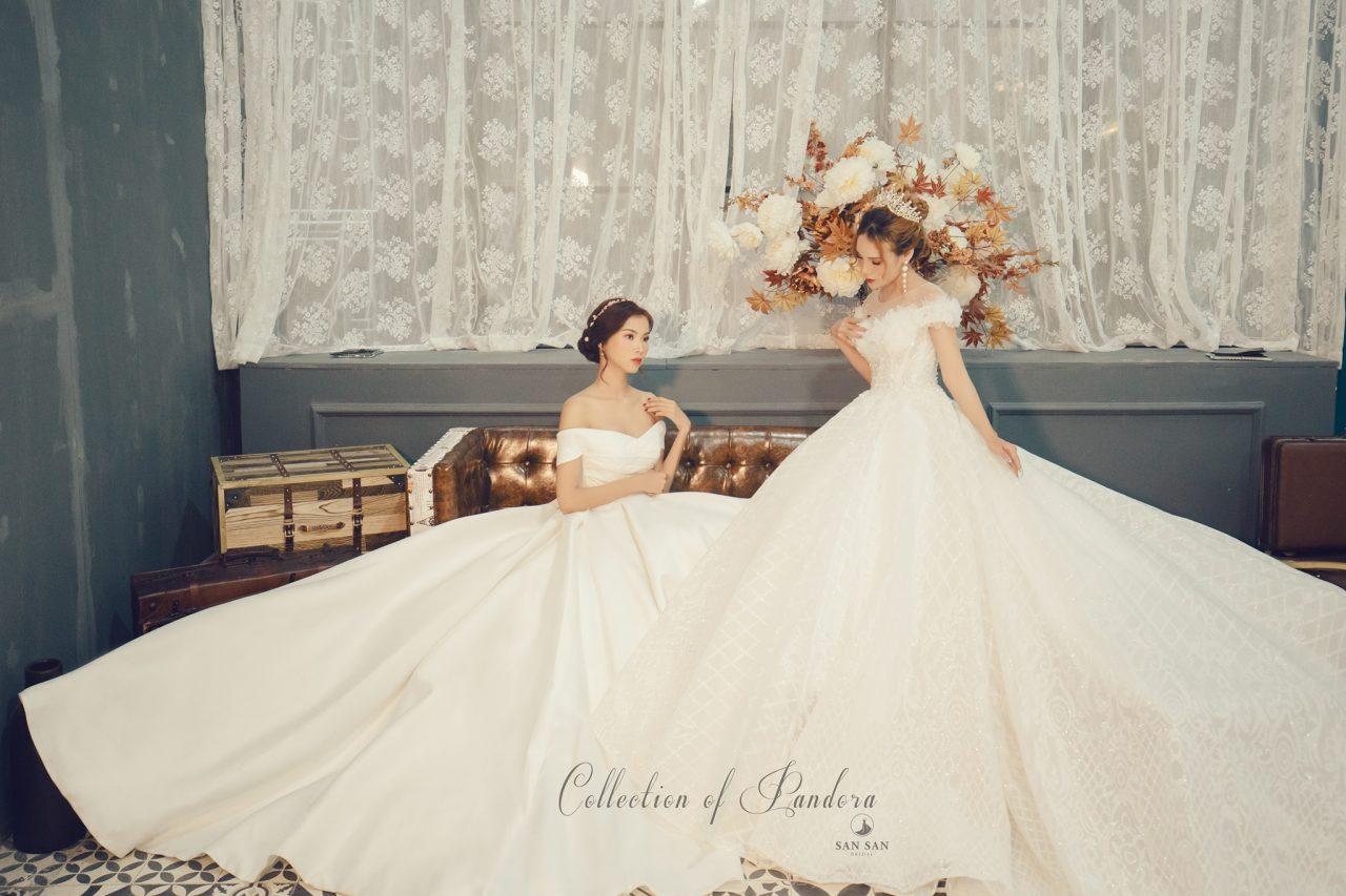 váy cưới đẹp trễ vai 2020
