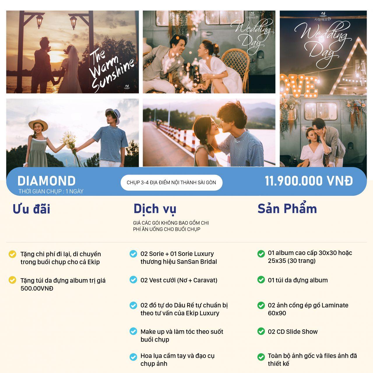 Bảng giá chụp ảnh cưới DIAMOND