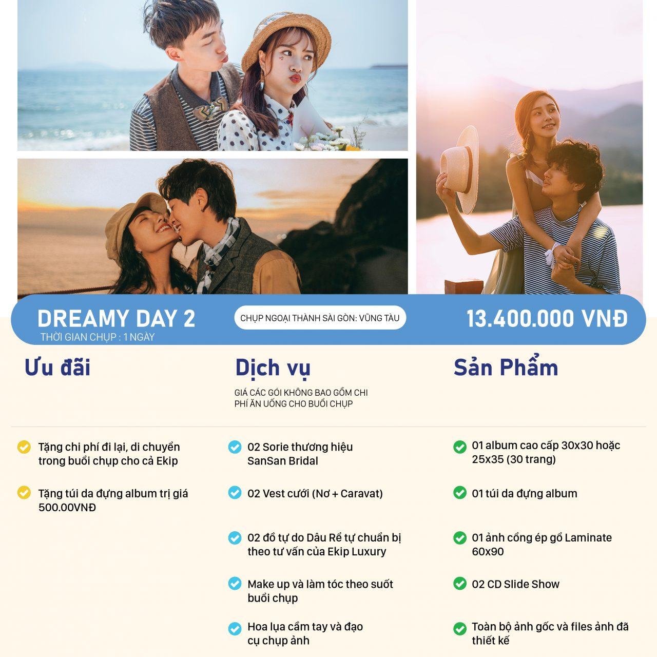 bảng giá chụp ảnh cưới DREAMY DAY 2