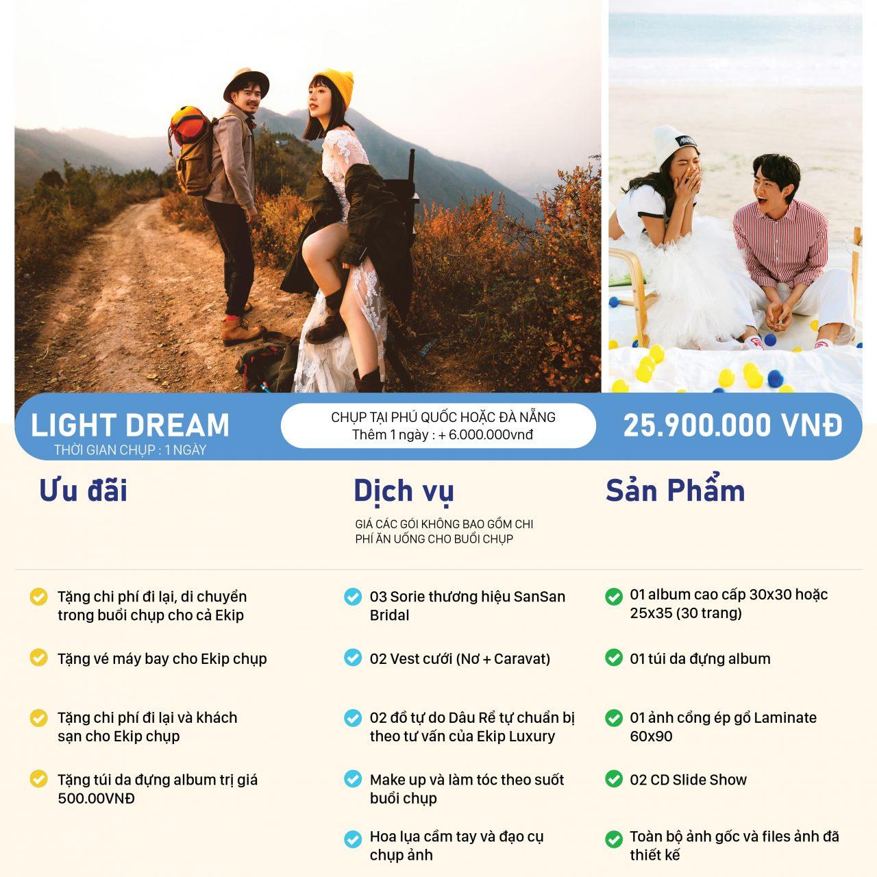 Bảng giá chụp ảnh cưới đẹp LIGHT DREAM