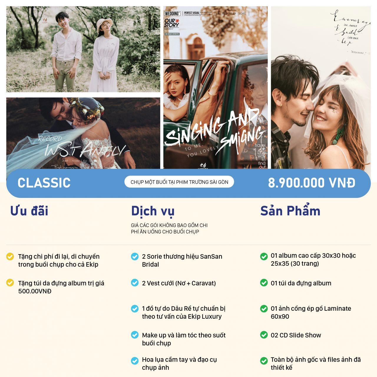 Bảng giá chụp hình cưới gói CLASSIC