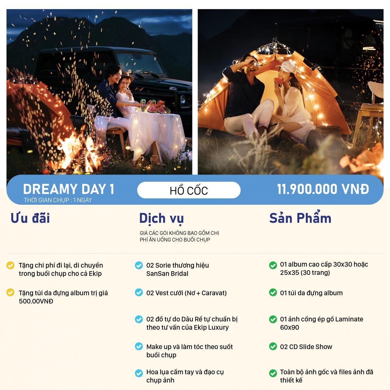 bảng giá chụp hình cưới gói DREAMY DAY 1